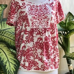 Laura Scott red and white top